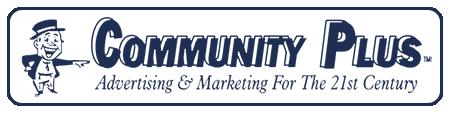 Community Plus Advertising Marketing Dark Blue Logo