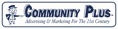 Community Plus Advertising Marketing Dark Blue Logo
