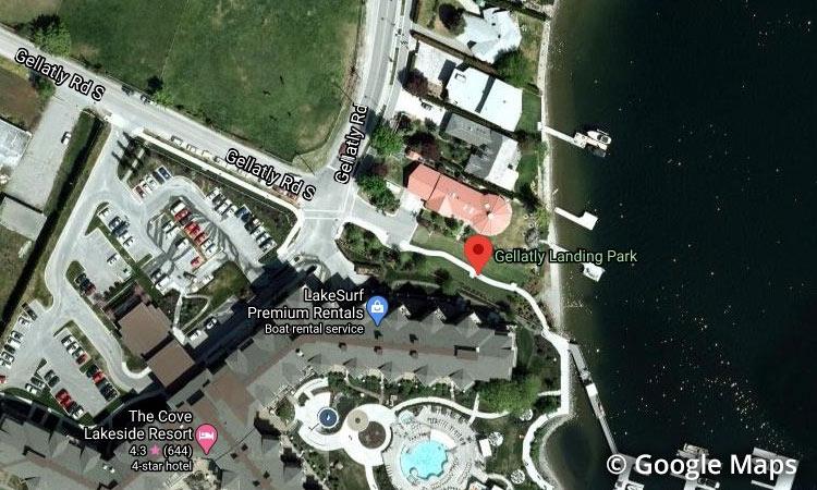 Gellatly Landing Park Beach-aerial view, West Kelowna BC