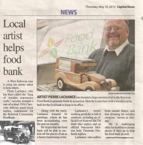 Pierre Lachance-custom wooden panel truck, Kelowna Food Bank, Capital News Kelowna newspaper_2012