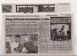 Pierre LaChance-wooden Indy race car, news article-Langley In Motion, 2005