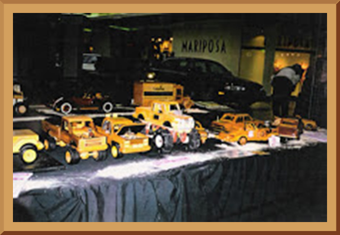 Wooden Automotive Models - display in a mall
