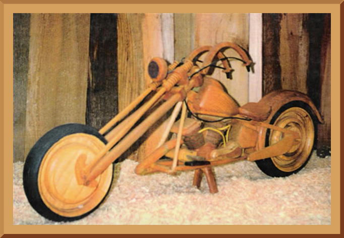 Wooden Chopper Motorcycle front view