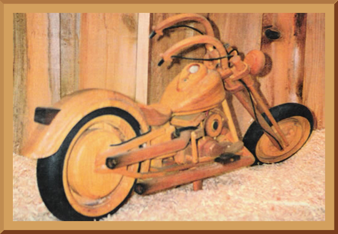Wooden Chopper Motorcycle Rear view