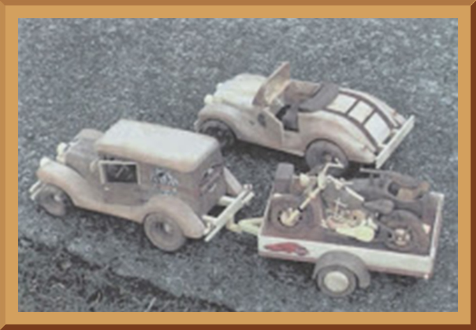 Wooden Models - Vintage Cars, Motorcycle & Trailer